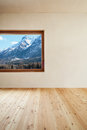 Room wjith window architecture modern design mountain home view Stock Photo