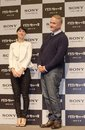 "Rooney mara and david fincher january th tokyo japan – the movie directer appear at a press conference for the film ""the girl Stock Photos"