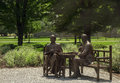 The roosevelts in bronze hyde park ny july statue of franklin and eleanor roosevelt outside of henry a wallace visitor center hyde Stock Images