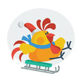 Rooster Bird Skate on Sledge. Cock in Santa s Hat Royalty Free Stock Photo