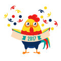 Rooster Cartoon Character Holding Festive Banner With Confetti Falling Around,Cock Representing Chinese Zodiac Symbol Of