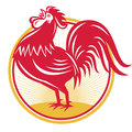 Rooster cockerel crowing retro illustration of a facing side set inside circle done in style Royalty Free Stock Photos