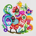 Rooster,color paper cutting. Chinese Zodiac. Royalty Free Stock Photo