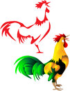 Rooster crowing stylized red and color illustrations Stock Photos