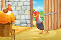 A rooster and a hen at the barnhouse illustration of Stock Photography