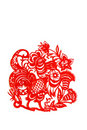 Rooster, paper cutting Chinese Zodiac. Royalty Free Stock Photo