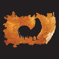 Rooster sketch on a decorative panel watercolor brush stroke grunge style abstract creative modern vector black background