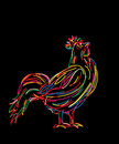 Rooster sketch stylize brush of a Stock Images