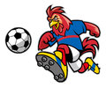 Rooster soccer mascot Royalty Free Stock Photo