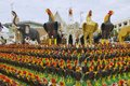 Rooster statuettes at the monument to the King Naresuan the Great in Suphan Buri, Thailand. Royalty Free Stock Photo