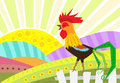 Rooster vector illustration of a stylized standing on a fence and a rural landscape in the background eps Royalty Free Stock Photo