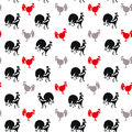 Roosters and Hens animal seamless pattern. Royalty Free Stock Photo