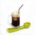 Root beer float with scoop isolated on white background Royalty Free Stock Photos