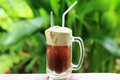 Root beer float a tasty summer treat on green tree background Stock Photos