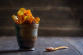 Root vegetable crisps serving of with sea salt Royalty Free Stock Image