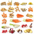 Root vegetable isolated on white background turmeric ginger carrots radish beetroot potato taro Stock Image