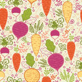 Root vegetables seamless pattern background vector with hand drawn elements Royalty Free Stock Photography