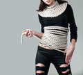 Rope apparel girl in black neatly wrapped in Royalty Free Stock Images