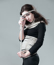 Rope apparel girl in black neatly wrapped in Stock Photos