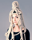Rope apparel on the head of a young girl headdress made ​​of Stock Photography