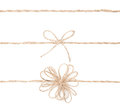 Rope bow. Jute wrapping collection for present. Close up. Royalty Free Stock Images