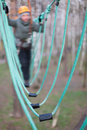 Rope bridge part of a childrens ropes course outdoor Royalty Free Stock Photography