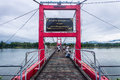 Rope bridge ping river in tak thailand Royalty Free Stock Image