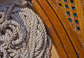 Rope detail on the boat deck Royalty Free Stock Photo
