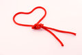 Rope forming a heart of red cord conceptual image for valentines day Royalty Free Stock Image