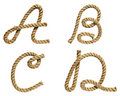 Rope forming letter A, B, C, D Stock Photo