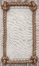 Rope frame, linen fabric and wood background Royalty Free Stock Photo