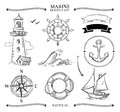 Rope frames, boats, marine knots, anchors nautical vector doodle set