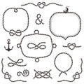 Rope frames borders knots hand drawn decorative elements in nautical style Stock Photo
