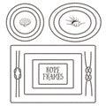 Rope frames, borders, knots. Hand drawn decorative elements