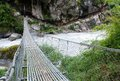 Rope hanging suspension bridge everest base camp trek in nepal Stock Photography