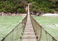 Rope hanging suspension bridge in nepal Royalty Free Stock Image