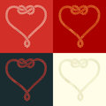 Rope heart shaped with knot set of four stylized on colorful backgrounds Royalty Free Stock Photo