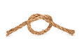 Rope with knot on white background Royalty Free Stock Photo