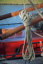 Rope loop on an old sailboat Royalty Free Stock Photo