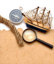 Rope, loupe, compass and model classic boat Stock Photo