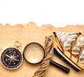 Rope, loupe, compass and model classic boat Royalty Free Stock Image