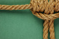 Rope with marine knot on the green background Royalty Free Stock Images