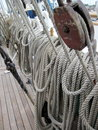 Rope in old sailing boat Royalty Free Stock Photo