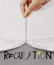 Rope open wrinkled paper show regulation business hand pull design text as concept Royalty Free Stock Images