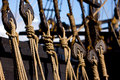 Rope Rigging on a Wooden Boat Royalty Free Stock Photo