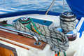 Rope sailboat winch and yacht detail yachting Stock Image