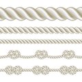 Rope set seamless and with different knots vector illustration Stock Photo