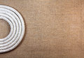 Rope swirl with jute cloth texture background Stock Photos
