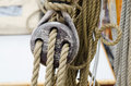Rope and tackle on one old sailboat made of wood Royalty Free Stock Photo