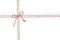 Rope Tied Bow Knot for White Envelope Package, Red Ribbon Cord Royalty Free Stock Photo